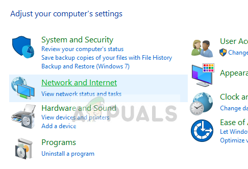Network and Internet - Control Panel on Windows 10