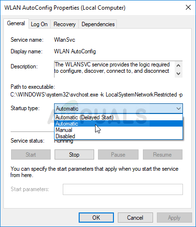 Settings startup type to Automatic