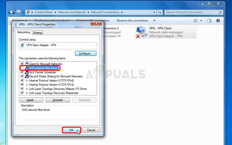 Disabling AVG Network Filter Driver