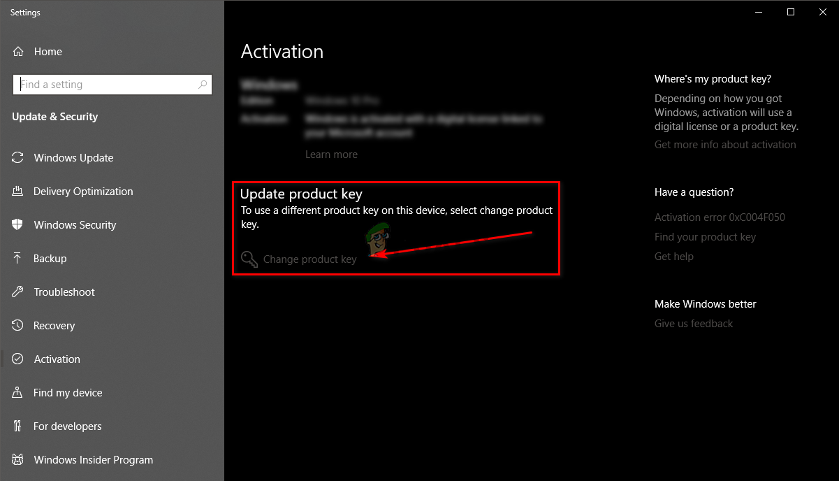 Activation window, change product key here