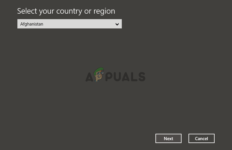 Activation wizard country selection