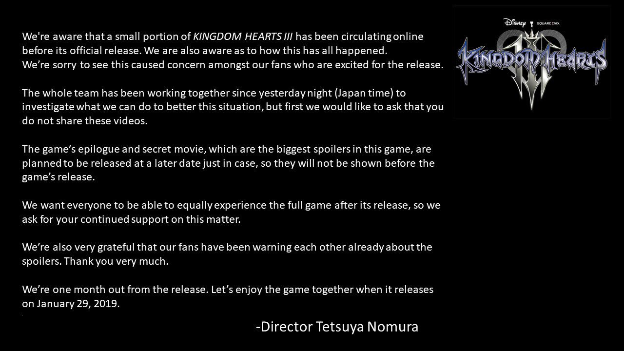 Director Statement Kingdom Hearts 3
