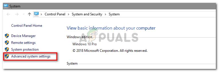 Advanced settings Windows