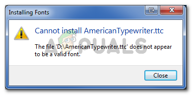 The file 'FileName' dose not appear to be a valid font