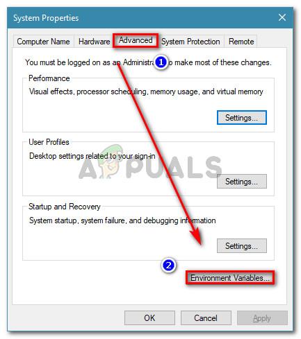 Gehen Sie in den Systemeigenschaften zur Registerkarte Erweitert und klicken Sie auf Umgebungsvariablen