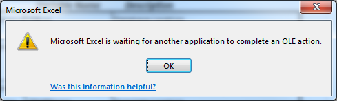 Microsoft Excel is waiting for another application to complete an OLE action
