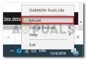 Mounting the iso image with Daemon tools