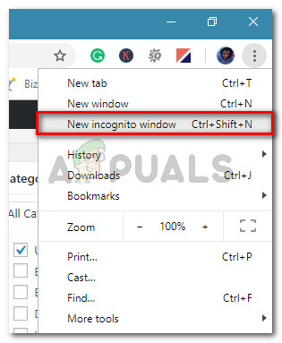 Click the action button and select New Incognito window