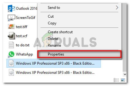 Right-click and choose Properties or select and press ALt + Enter