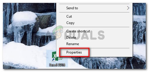 Right-click on the Excel executable and choose Properties