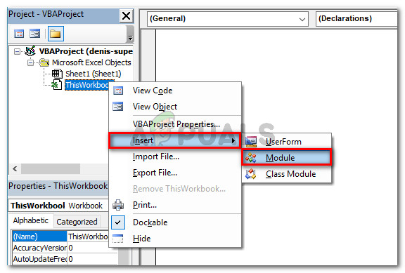 Right-click on ThisWorkbook and choose Insert > Module