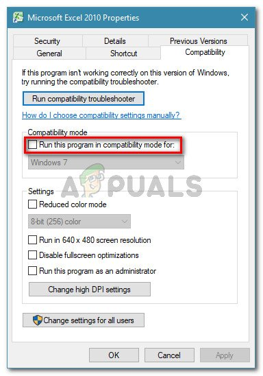 Uncheck Run this program in compatibility mode