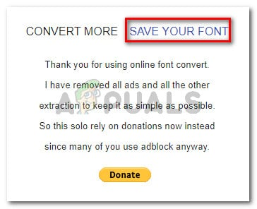 Saving the converted font
