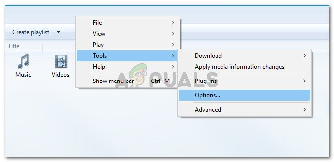 In WMP, right-click on a free space and go to Tools > Options