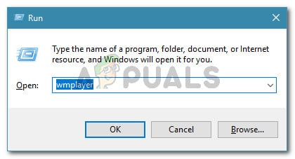 Run dialog: wmplayer
