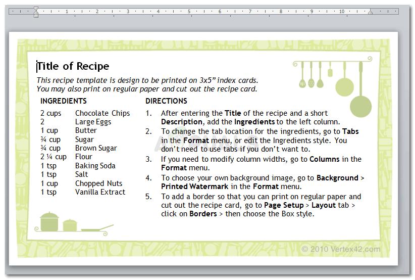5 Recipe Card Templates For Microsoft Word Appuals Com