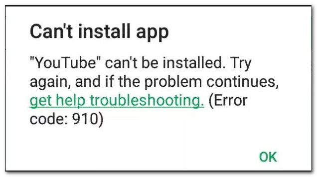 Fix: Error 910 on Google Play 'Cant install app' - Appuals com