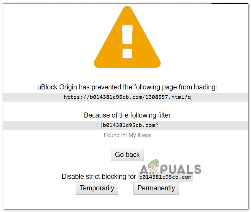 Fix: uBlock Origin has prevented the Following Page from