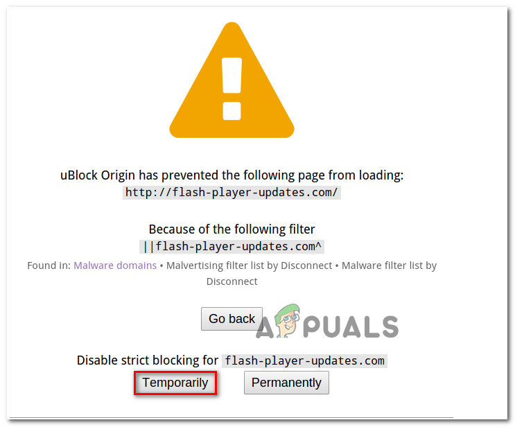Fix: uBlock Origin has prevented the Following Page from Loading