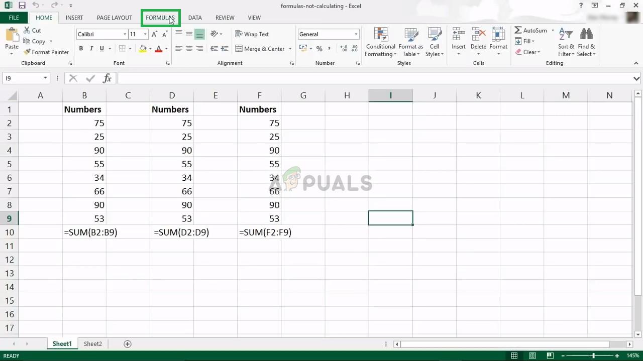Fix Excel Formulas Not Updating   Appuals.com