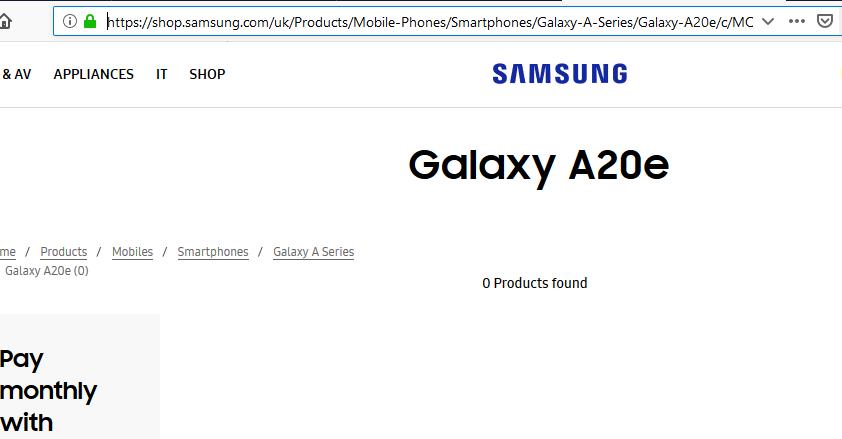 Galaxy A20e on Samsung UK Website