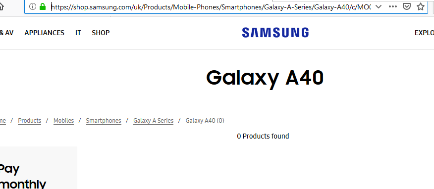 Galaxy A40 on Samsung UK Website