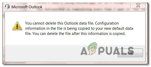 Fix: You Cannot Delete this Outlook Data File - Appuals com