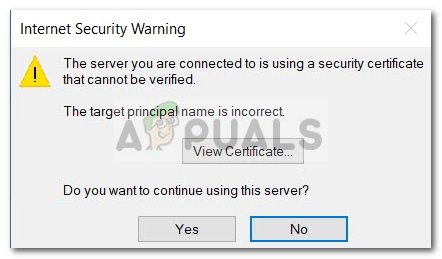 Fix: The Server you are Connected to is Using a Security
