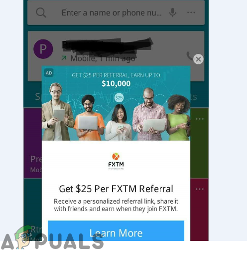 pop up on android phone