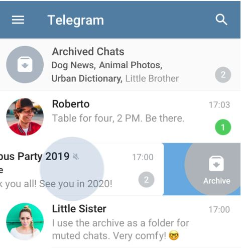 Telegram Chat Archive Feature