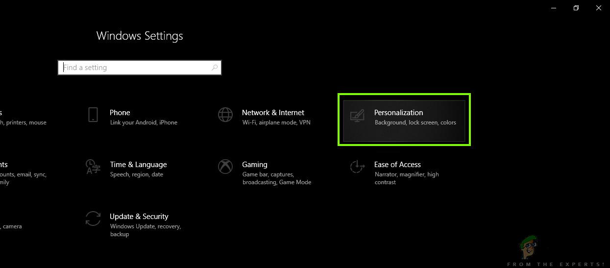 Personalization - Windows Settings
