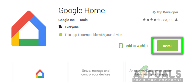 Installing the Google Home app from the Google Play Store