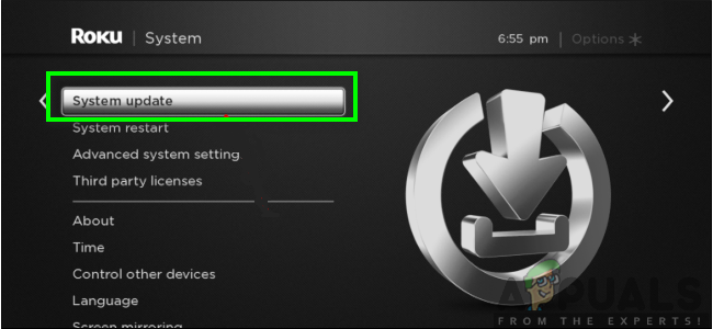 Tapping on System Update