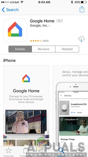 Installing the Google Home app from the App Store