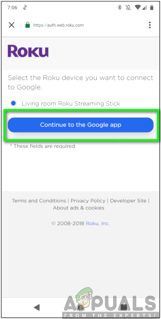 Selecting the Continue to the Google app option