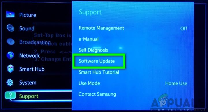 Klicken Sie auf die Option Software Update