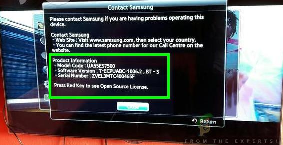 Überprüfen Sie die Modellnummer Ihres Samsung-Fernsehgeräts