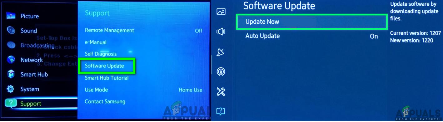 Aktualisieren der Samsung TV-Software