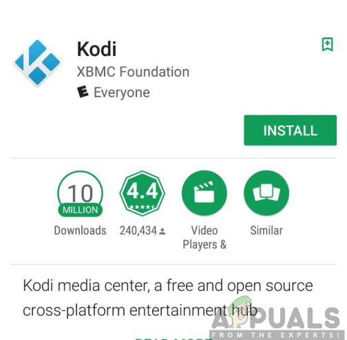 Installing Kodi app from the Google Play Store