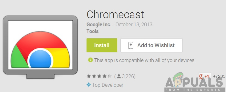 Installing the Chromecast app from the Google Play Store