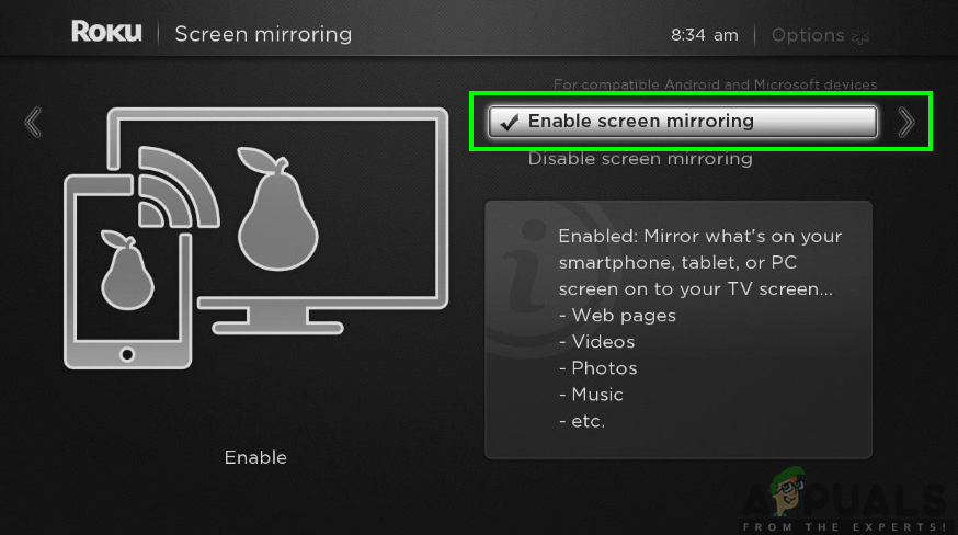 Enabling the screen mirroring feature