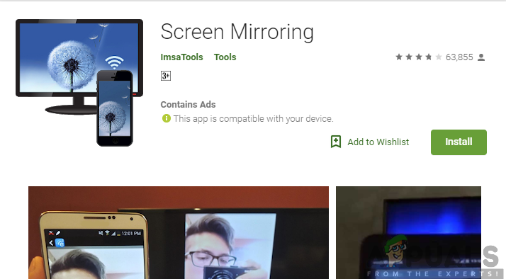 Installing Screen Mirroring app from the Google Play Store