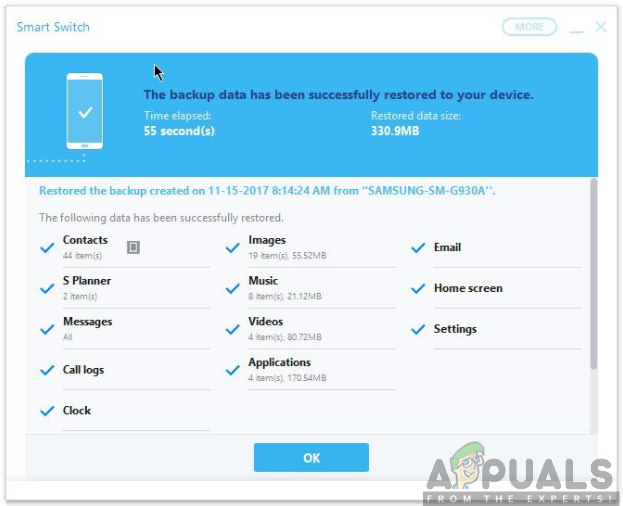 Backup data restored successfully(smart switch)