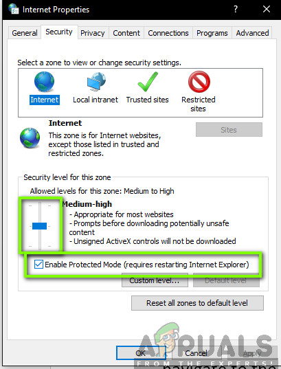 Disabling Protected Mode - IE