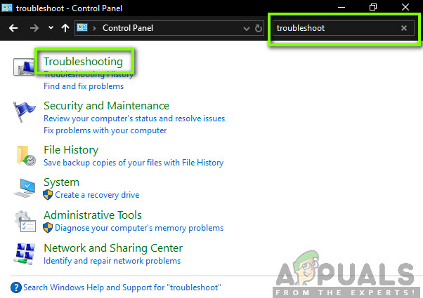 Selecting Troubleshooting - Control Panel