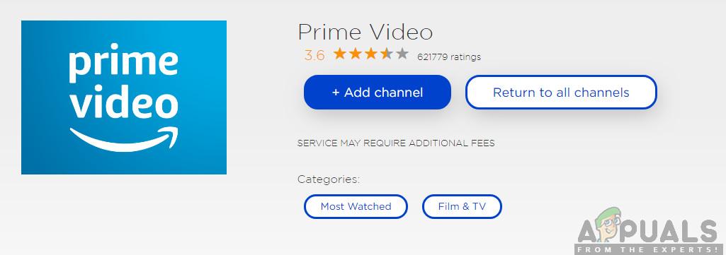 Installing Prime Video Channel - Roku