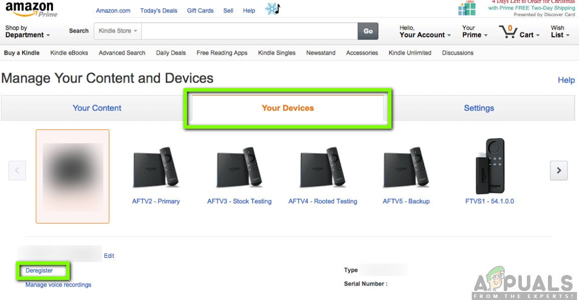 Opening Your Devices in Manage your Content and Devices - Amazon Website