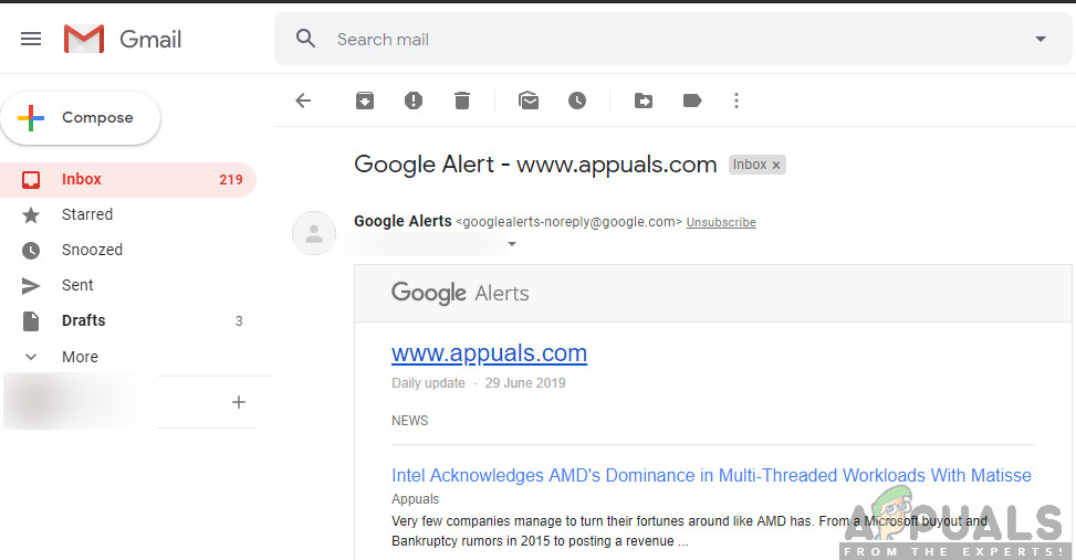 Creating Google Alert for Website