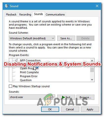 How To Disable Notification And Volume Sounds On Windows 10 Appuals Com