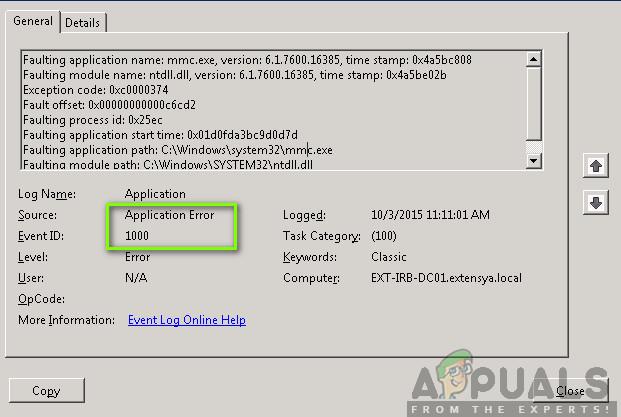 Event 1000 Application Error